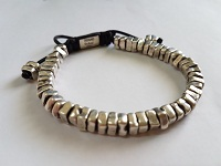 Hand-Casted Square Sterling Silver Mens Bracelet