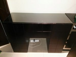BLACK SOLID WOOD CABINET WITH GLASS TOP