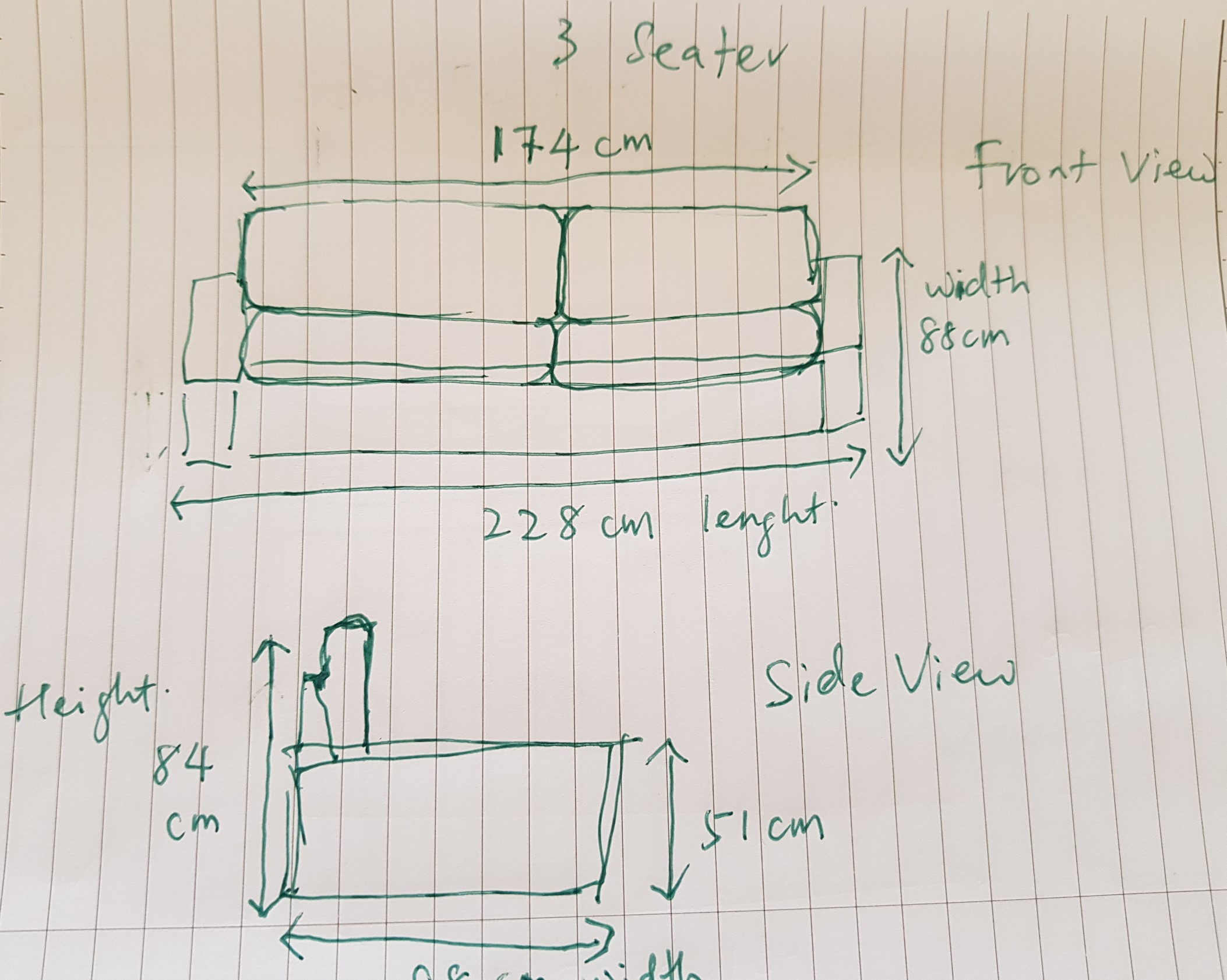 3 seater sofa measurement